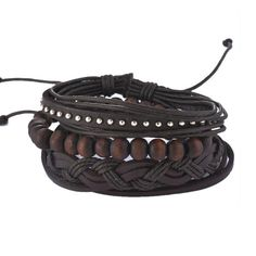 Multilayer Wood Bead Bracelet  Shape\pattern:  Round    Bracelets Type:  Chain & Link Bracelets    Chain Type:  Rope Chain    Clasp Type:  Lace-up    Material:  Leather  http://www.leonardwatches.it/products/multilayer-wood-bead-bracelet