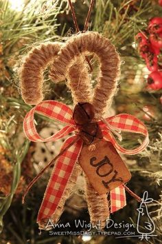 twine wrapped candy cane ornaments with gingham ribbon