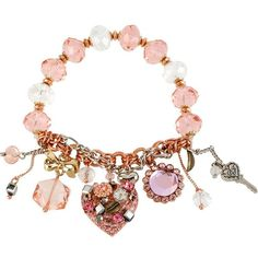 Betsey Johnson Vintage Heart Charm Bracelet (€29) ❤ liked on Polyvore featuring jewelry, bracelets, accessories, necklaces, pulseiras, pink, vintage antique jewelry, vintage jewelry, charm bracelet and pearl bangles