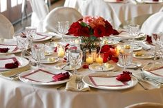 Beautiful rose centerpiece for a fall wedding