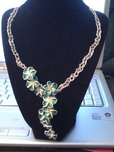 Polymer clay flowers wire crochet necklace by JoMDesigns on Etsy, $25.00