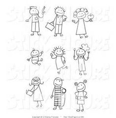 Stick Figure Clipart Clip Art Stick People Family And Pets - Cartoon stick people clip art