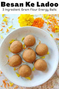 Veg Recipes, Vegetarian Recipes, Gram Flour, Indian Dessert Recipes, Dried Fruit, 3 Ingredients, Allrecipes, Roast, Food And Drink