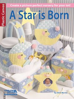 A Star is Born Baby Nursery Plastic Canvas Patterns Mobile Wipes Cover Tissue Plastic Canvas Tissue Boxes, Plastic Canvas Crafts, Plastic Canvas Patterns, Baby Doll Accessories, Nursery Accessories, Decorative Accessories, New Crafts, Baby Crafts, Nursery Canvas