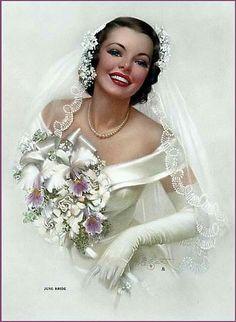 Pin-up: Zoe Mozert, A June Bride, Brown & Bigelow, Vintage Wedding Photos, Vintage Bridal, Vintage Weddings, Vintage Pins, Wedding Bride, Dream Wedding, Wedding Day, Wedding People, Wedding Blog