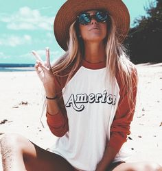 Halley Elefante (The_Salty_Blonde) in my America sweatshirt design for Wildfox Mode Style, Style Me, Surfergirl Style, Outfit Chic, Bohemian Outfit, Boho, Mode Hippie, Summer Outfits, Cute Outfits