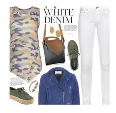 Bright White: Summer Denim by beebeely-look on Polyvore featuring Acne Studios, rag & bone, Indigo Road, ootd, whitejeans, camouflage, streetwear and twinkledeals