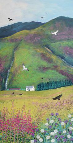 Hillside Cottage - acrylic on a 30 x 60cm box canvas