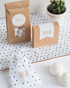 Doopsuiker en dekentje grafisch ontwerp voor een jongen in blauwtinten met koper (c)Alsjeblief.be