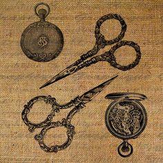 Sewing Scissors Pocket Watch Clock