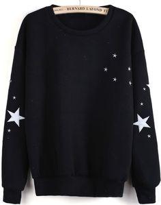 Black Long Sleeve Stars Embroidered Sweatshirt GBP£14.03