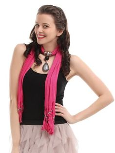 Women Pink  Jewel Pendent Scarf. Starting at $5 on Tophatter.com!
