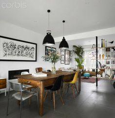 Dining Room in High Barnet family home, London by Paul Archer Design | Fiberglass Shell Chairs on Dowel Bases | http://modernica.net/dowel-side-shell.html