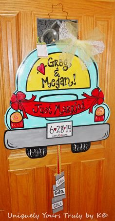 Just Married Car Door Hanger! Let the world know that the newly-weds have tied the knot with this door hanger. This door hanger is Wedding Door Hangers, Wedding Doors, Wooden Door Hangers, Wooden Doors, Wooden Signs, Burlap Door Hangings, Just Married Car, Burlap Signs, Cute Signs