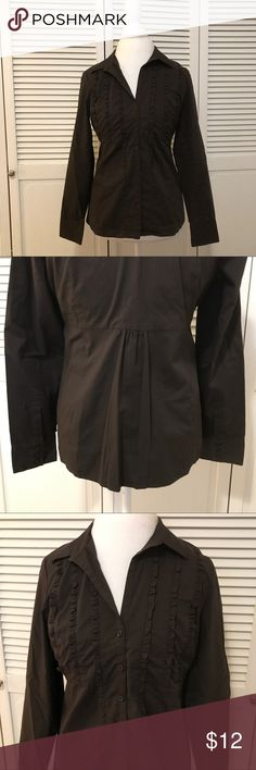 Button Up Ruffle Blouse Top with Cinched Back Excellent used Condition. Received in a mystery box on Posh and it does not fit me. Very nice chocolate brown color. No stains. All buttons intact. Fast shipping. Ann Taylor Tops Button Down Shirts