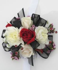 Wrist Corsage Red & White Sweetheart Roses &Wax Flower