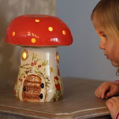 A beautiful and traditional hand decorated childrens mushroom nightlight in ceramic. Our toadstool kids lamp in red is a unique and exclusive childrens bedside lamp and is design Hans Wegner, House Doctor, Childrens Bedside Lamp, Best Night Light, Kids Lamps, Nursery Night Light, Cool Lamps, Unique Lamps, Night Lamps