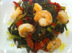 Shrimp and Greens - you could make with scallops :)