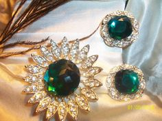 SARAH Coventry Classic Peacock Green Clip On earring and Brooch set  by EndlessFunctionalArt, $34.00