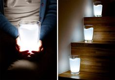 Creative Milk Glass LED Night Light Lamp  Unusual Milk Glass LED lamp, designed to look like a glass filled with milk, lights up when placed upright and turns off when tilted or placed upside down.