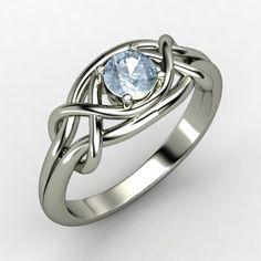 Round Aquamarine 18K White Gold Ring | Infinity Knot Ring | Gemvara