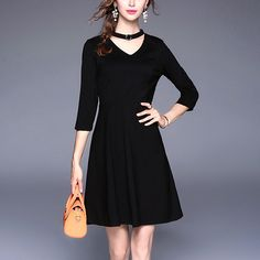 229049a550a Fashion Women V Neck Slim Midi Black Autumn Dress