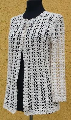 Crochet Knitting Handicraft: Jacket - photo tutorial and stitch diagram at site everything to create crochet garments - PIPicStats Crochet jacket in the style of Chanel. Discussion on LiveInternet - Russian Service Online Diaries Crochet knitting is one Débardeurs Au Crochet, Gilet Crochet, Crochet Jacket, Crochet Poncho, Crochet Cardigan, Crochet Sweaters, Stitch Crochet, Modern Crochet Patterns, Crochet Fashion