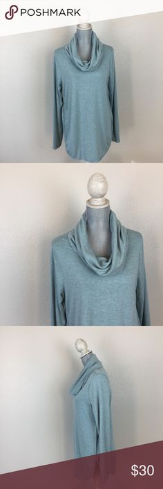 Lou & Grey Signaturesoft tunic sweater Lou & Grey from Ann Taylor LOFT Signaturesoft Heathered sky blue sweater tunic with draped cowl neck. Long sleeve. Rounded hem in front and back. has some stretch to it, super soft! Great for lounge wear, casual wear, and errand runs or morning doggie walks while holding a cup of coffee☕️🍵! Fabrics: Rayon and Spandex. No holes, stains, rips, tears, or pilling noted. Reasonable offers accepted. No trades please :) Lou & Grey Sweaters Cowl & Turtlenecks
