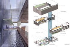 (l) Main Entry Waterfall; (r) Exploded Axonometric