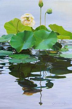 Lotus in Bloom by Sheri Farabaugh  ~ 24 x - Watercolor Landscape, Landscape Art, Watercolor Flowers, Landscape Paintings, Watercolor Paintings, Lotus Painting, Lily Painting, Lotus Flower Pictures, Lily Pond