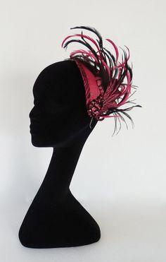 Dutch design pink and black fascinator by MarcusArtandFashion, $89.00