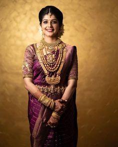 Ideas south indian bridal wear beautiful for 2019 South Indian Wedding Saree, Indian Bridal Sarees, Bridal Silk Saree, Indian Bridal Fashion, Indian Bridal Wear, Indian Wedding Jewelry, South Indian Bride, Bridal Lehenga, Bridal Jewellery