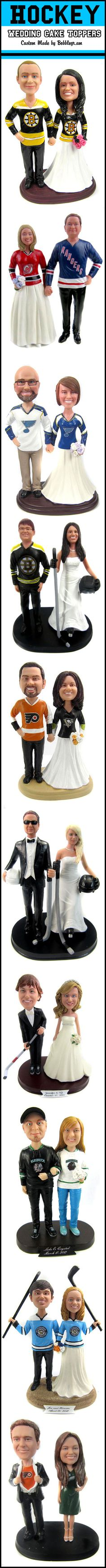 Custom cake toppers are perfect for hockey loving couples - even if they root for different teams!  The heads are custom sculpted based on your photos and the jerseys are custom painted with any team logo, number and name.