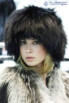 Silver Fox Fur Vest and black Fox Fur hat. And OMG she is cute. 1,365×2,048 pixels