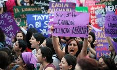 Turkish women protest against the government's plan to reduce the time limit for abortions to four weeks. Photograph: Ma Yan/Xinhua Press/Co...