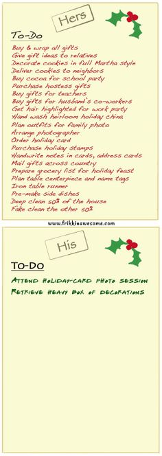 christmas to do list his hers more fun at www.frikkinawesome.com