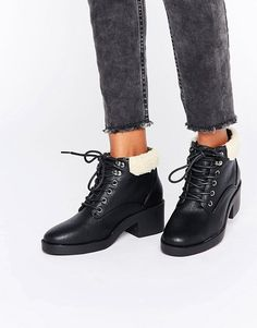 New Look   New Look Lace Up Work Boots with Borg Lining