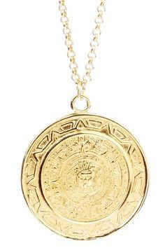 Vivian Tamayo Mayan Calendar Medallion Pendant Necklace