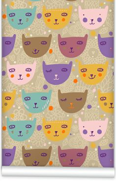 Muffin and Mani Little Faces Wallpaper | Polka Dot Peacock
