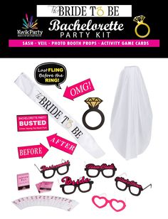 "This is a GIVEAWAY for a chance to win one Summer 2017 14-PIECE BACHELORETTE PARTY KIT by Kwik Party. Perfect for a girl's night out, bridal shower, or engagement party with everything you need to keep the Bride and her Tribe happy and entertained. Our Bachelorette Party Kit includes a one-of-a-kind bachelorette sash that reads ""The Bride to Be"" with matching shoulder-length Veil, 5 Pair of Bachelorette Photo Booth Prop Glasses, 6 Photo Prop Signs, and a set of 52 ""Dare"" Activity Game Cards…"