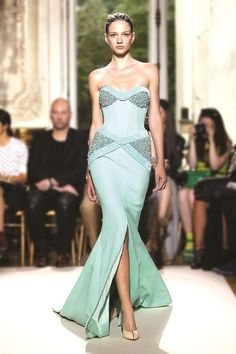 Seafoam, sweetheart, beaded bust and hips evening gown