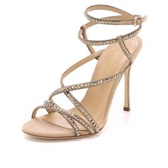 Sergio Rossi Crystal Sandals (1 394 AUD) ❤ liked on Polyvore featuring shoes, sandals, nude, studded shoes, nude strappy shoes, wrap around sandals, swarovski crystal sandals and swarovski crystal shoes