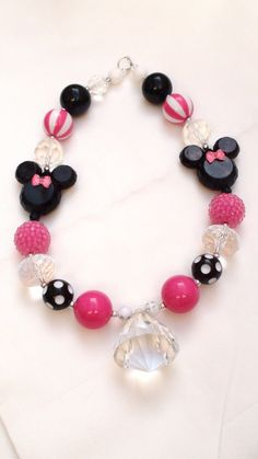Disney Classic Pink Minnie Bowtique/ Mickey Mouse Girls Chunky Necklace Necklace, Chunky Bead Necklace Perfect for Disneyland trips