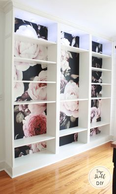 Add removable wallpaper to the back of your Billy Bookshelves by employing a little patience, time, and these simple steps. Ikea Furniture, Furniture Projects, Furniture Makeover, Home Projects, Furniture Stores, Bookshelf Makeover Diy, Furniture Websites, Office Furniture, Outdoor Furniture