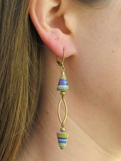 OOAK All Wound Up Earring - Handmade Paper Beads
