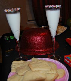 Kid friendly New Years Eve party ideas - nutella and sprinkles on the rim of a milk glass