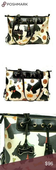 """DOG LOVERS DOONEY & BOURKE TERRIER  SHOULDER BAG  CUTE!  CUTE!  CUTE!  DOONEY & BOURKE TERRIER SHOULDER BAG  Pre-Loved  Tassels & Metal Dog Bone w/ Logo Top Zipper Closure w/Spacious Interior 2 Tabs w/Knobs Hold a Divider Panel Also 2 Slip Pockets Last Pic Shows Blemish Some Light Stains Interior NO Pen Mark's or Lipstick  Approx Meas;    Bttm L   13 1/2""""     Bttm W   4 1/2""""    Side L   9""""    Drop   10 1/2"""" Meas. Can be Interpreted Differently Depending on How & Where U Measure.  Colors May…"""