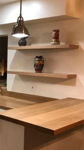 floating shelf installation on masonry wall Custom Floating Shelves, Floating Cabinets, Carpentry Projects, Wood Projects, Concrete Block Walls, Wood Shelves, Shelving, Masonry Wall, Wall Bar