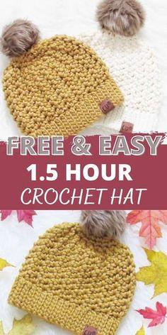 Crochet Toddler Hat, Chunky Crochet Hat, Crochet Adult Hat, Crochet Kids Hats, Free Crochet, Knit Hats, Knitting For Kids, Beanie Pattern Free, Crochet Beanie Pattern