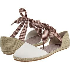 cute flat espadrilles with gingham ribbon